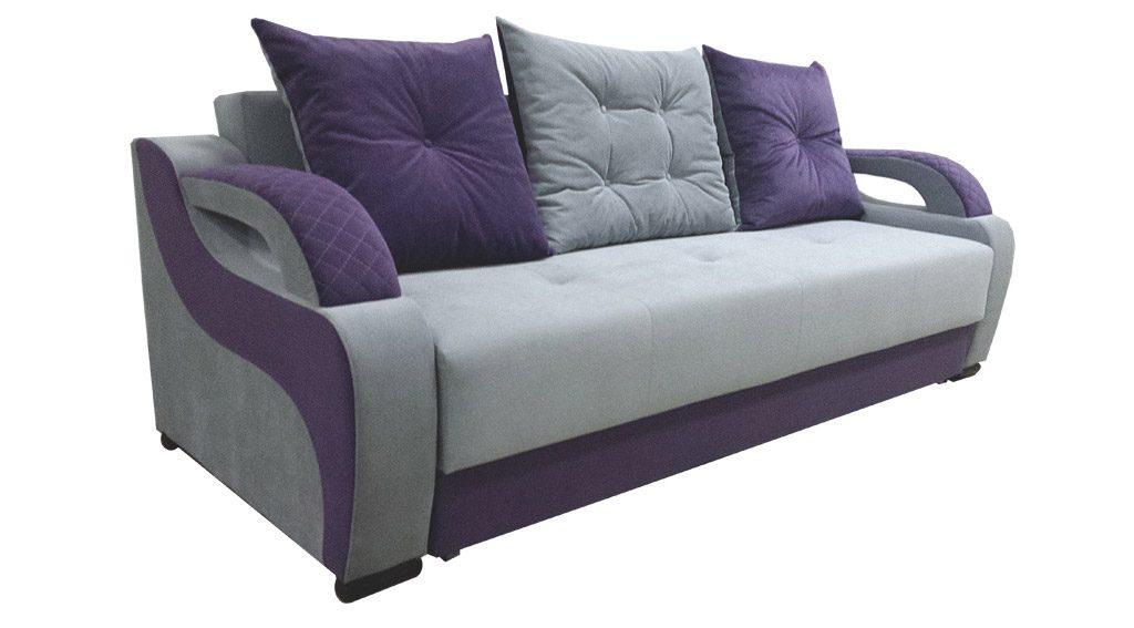диван прямой голубого цвета